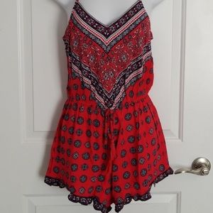 F21 Red Boho Style Romper With Front Tassel Tie